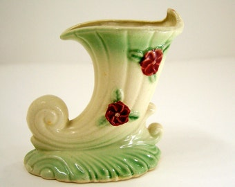 Horn-of-plenty cornucopia ceramic vase, cream green dark rose red home decor vintage get well thanksgiving hostess gift filled with flowers