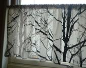 "30"" drop Retro Tree Panel Valance Kitchen Bathroom Cafe Curtain Black Grey White Rod Pocket Ruched or Flat 54"" x 30"" 100% Cotton"