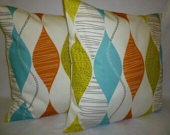 "Pair Pillow Covers 22 x 22"" BIG Orange Funky Retro Designer Cushion Covers Pillowcases Euro Shams Decorative Pillows"