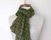 CHRISTMAS SALE Green Cotton Scarf Shawl-Floral Design-Ready for shipping