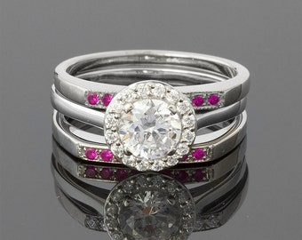 1.1 Carat Ruby and Diamond Halo Wedding Set in 18k White Gold
