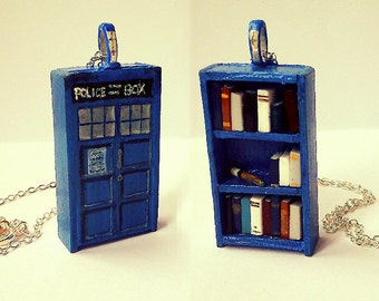 Dr Who Tardis Bookshelf Necklace with Sonic Screwdriver - Book Jewelry by Coryographies (Made to Order)