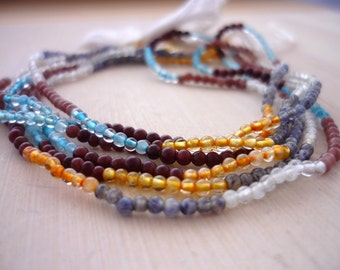 Tiny multi gemstone round beads 1-1.5mm 1/2 strand
