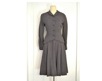 Vintage Suit, Early 1950s Two Piece Nipped Waist Grey and Blue Check Skirt Suit, Vogue Design