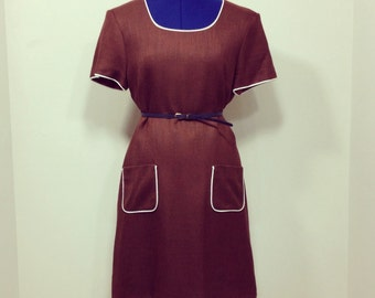 Vintage 80s Does 60s Misty Lane Shift Dress / Brown / Size 10