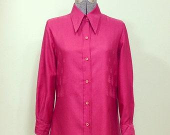 Vintage 70s Guarnera / Norma Legge Fuchsia Button Up Blouse S M