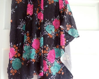 Vintage Hot Pink and Turquoise Floral Print Fabric Remnant- Black Floral Print Fabric- Pink Rose-Vintage Roses