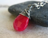 Pink Pendant Sterling Silver Necklace Wirewrapped Chalcedony Semiprecious Gemstone Jewelry