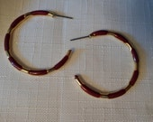 Vintage / WINE HOOPS / Earrings / Pierced / Enamel / Gold / Art Moderne / Modernist / Classic / Chic / Elegant / Statement / Accessories