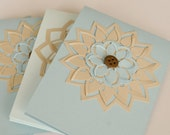 Blue and Beige Blank Greeting Cards, Card Set, Set of Four, Floral Card Set