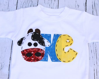 First farm birthday shirt, one, cow, 1st,  t shirt, barnyard, farm theme, boy white