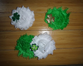 St Patty's/Patrick's Day Shabby Flower Hair Clips (Choose your combination) can be added to a headband