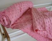 Medium Rose Pink Plush Dot Minky 1 Yard