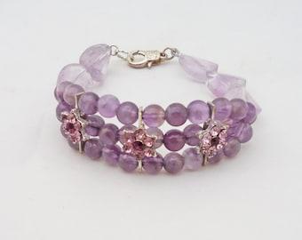 Amethyst and Fluorite Bracelet, Gemstone Bracelet, Purple Bracelet, UK Seller