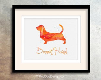Basset Hound Dog - Watercolor - Breed Collection - Digital Download Printable - Frameable 8x10 plus Greeting Card Design