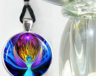 Violet Flame Necklace Angel Art Reiki Energy Pendant Chakra Jewelry