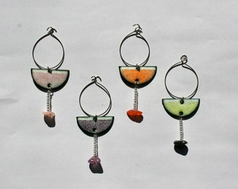 Margarita Drink Charms in Enameled Copper and Beads