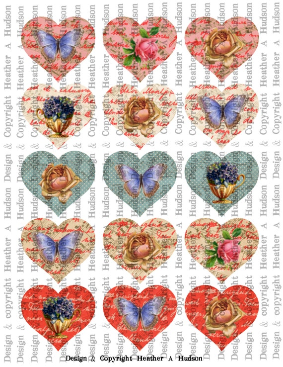 Conversation Hearts Images Medium  Vintage Valentine's Day Valentine tags Digital Collage sheet Printable