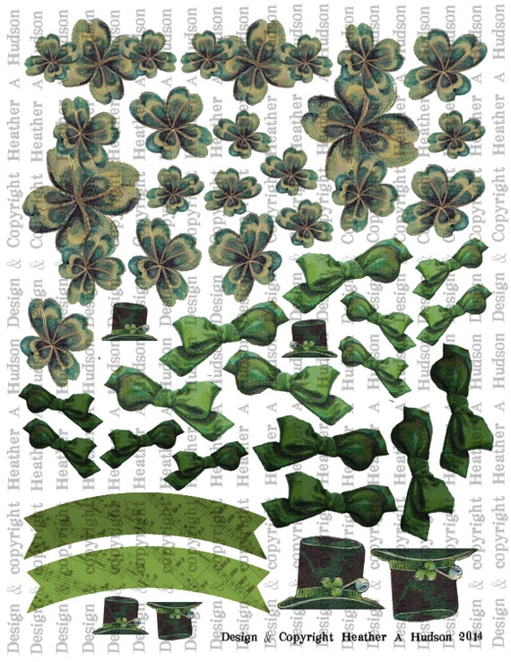 Victorian Vintage Green Shamrock, Banner, Hats, Bows St. Patrick's Day Irish Art Parts  Digital Collage sheet Printable