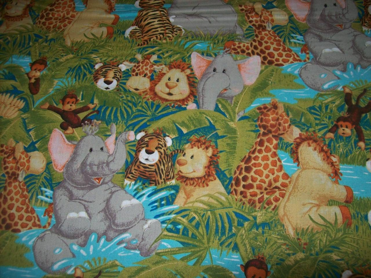 Baby safari print fabric called jungle babies by patti reed for Childrens jungle print fabric