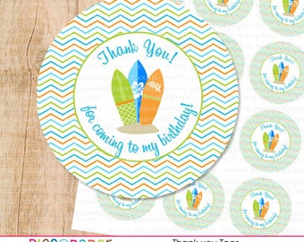 Surf Theme Thank You Tags for Birthday Party- Surfboards with Chevron Background
