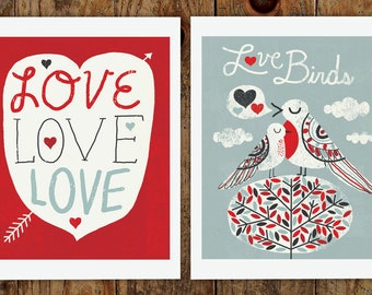 "Love Birds, TWO 8x10"" Art Prints"