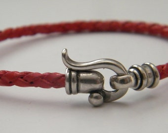 """red leather braided , 3 m""""m leather , silver clasper, christmas gift, special clasp, for man , woman, handmade red leather, israeli design"""