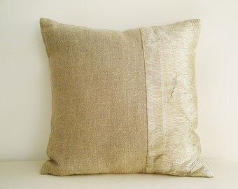 Linen and Pale Gold Beige Metallic Pillow Cover , Holiday Decor , Shimmer Pillow ,  Decorative Pillow , Throw Pillow , Cushion Cover