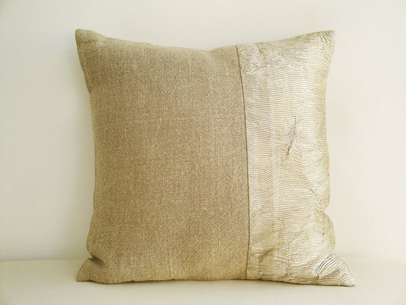 Linen and pale gold beige metallic pillow cover holiday for Beige and gold pillows