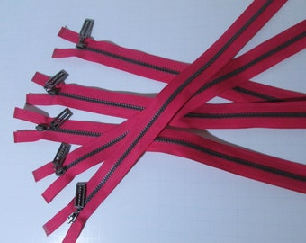 Five (5) pieces Fancy Pull Heavy Duty Zippers in Bright pink and gray -closed end