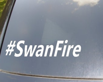 Swan Fire Hastag Car Sticker