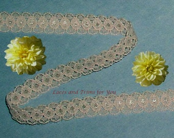 Beige Lace Trim 14/28 Yards Vintage Galloon 1/2 inch wide Lot J56A Added Items Ship No Charge
