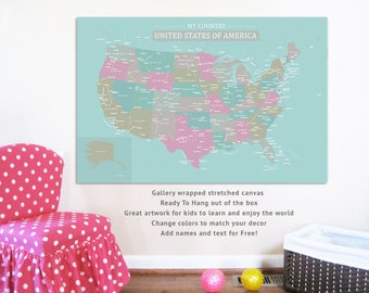 USA Map on Canvas, My Country, 24X36, Travel Artwork, Travel gift, Farewell, Gift for home, Maps for kids, Educational map, America