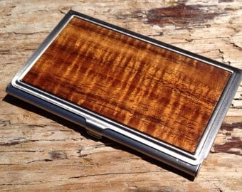 Personalized Curly Koa Wood Business Card Case - ID/Card Holder - Hawaiian Koa Wood -Free Engraving, Father's Day - Graduation Gift