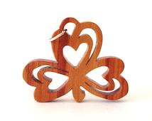 Shamrock Pendant Necklace St. Patrick's Day Jewelry Ireland Irish Heritage Jewelry Tulipwood Hand Cut Scroll Saw