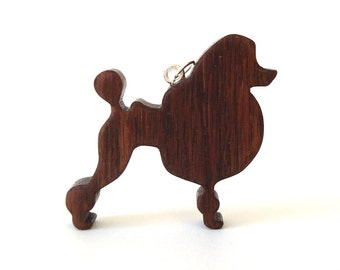 Poodle Dog Necklace Hand Cut Wooden Dog Breed Pendant Jewelry Scroll Saw Walnut