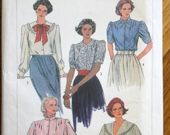 Simplicity 7233 Misses Blouse Vintage Sewing Pattern 1985