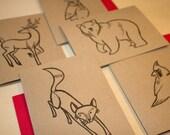 Woodland Animals Greeting Card Set - Handcarved Letterpress Blank Cards