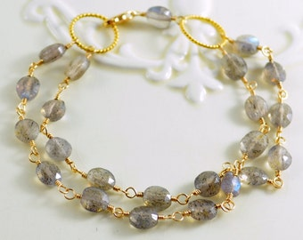 Labradorite Bracelet, Double Strand Multi Strand Multistrand, Grey Gemstone, Gold Vermeil, Wire Wrapped Jewelry, Free Shipping