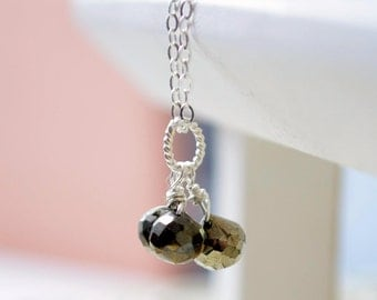 Pyrite Necklace, Gemstone Jewelry, Onion Shape Trio, Sterling Silver, Wire Wrapped, Black Spinel, Simple and Pretty, Free Shipping