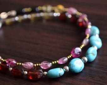 Turquoise Beaded Bracelet, Garnet, Beer Quartz, Gemstone Jewelry, Aqua Red Dark Gold, Boho Bohemian, Sterling Silver, Free Shipping