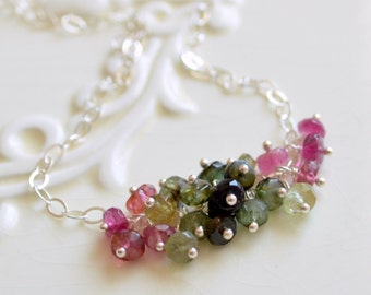 Gemstone Necklace, Tourmaline Cluster, Pink Greens, Semiprecious, Genuine October Birthstone, Sterling Silver Jewelry, Free Shipping