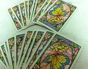 Vintage Set of 20 Butterfly Playing Cards Tags Paper Ephemera Trading Cards