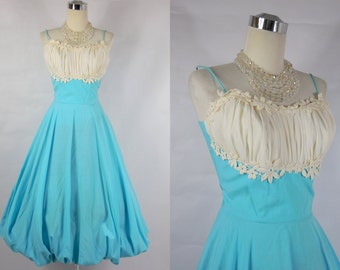1950s Vintage  Sky Blue Bubble Dress  with White Shelf Bust