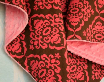 SALE  Baby Blanket - Pink and Brown Damask - Personalization Options Available