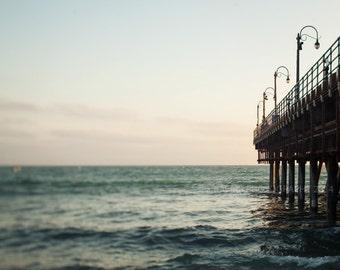 "Santa Monica Photography - California Beach Pier - West Coast Boardwalk - Pacific Ocean - Nautical Sea Decor - ""Santa Monica Pier"""