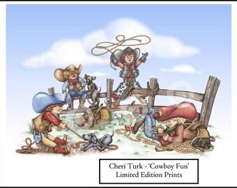 Cowboy Fun, Art Print limited edition by artist Cheri Turk