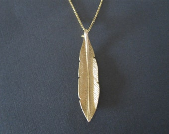 Long Gold Leaf Necklace