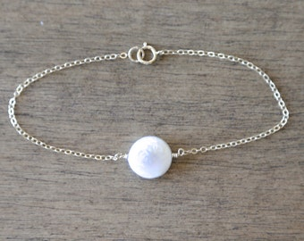 White Coin Pearl Bracelet - 14K Gold Filled  Chain - Wedding Delicate dainty everyday wear jewelry