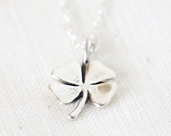 Sterling Silver Four Leaf Clover Necklace - simple everyday minimalist jewelry